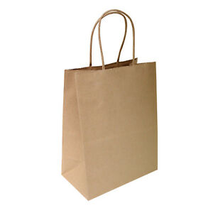 8 x4 75 x10 5 Brown Kraft Paper Bags Shopping Merchandise Party Gift Bags