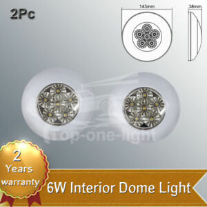 2pc 6w 5 6 Waterproof Interior Dome Light Round Led Roof Car Cabin Boat Caravan