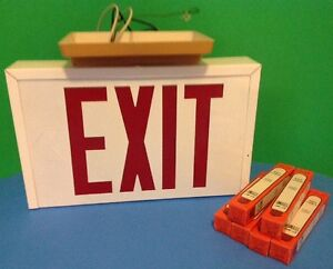 Vintage Metal Lighted Exit Sign Red Letters Double Sided W 6 Bulbs Fast Ship