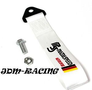 Jdm Mazdaspeed Universal Front Rear Tow Strap Tow Hook Ribbon White