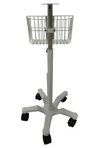 Infinium Medical Omni Series Patient Monitor Adjustable Roll Stand With Basket