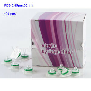 100x Pes 0 45 m 30mm Sterile Hydrophilic Syringe Filter Individually Sealed Nsf