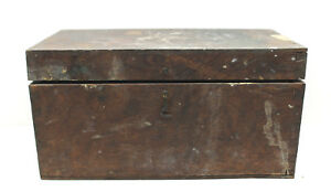 Antique Hardwood Mortise Joint Hinged Storage Box Steampunk 1950s Wooden Chest