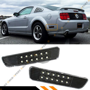 For 05 09 Ford Mustang Blk Rear Bumper Side Marker Reflector Smd Led Lamps Light