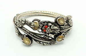 Fine Antique Chinese Silver Dragon Citrine Faux Coral Hinged Bracelet