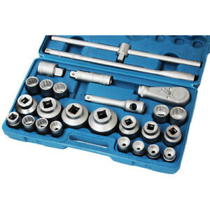 26 Pc 3 4 And 1 Inch Drive Ratchet Socket Extension Set 21 65mm In Case