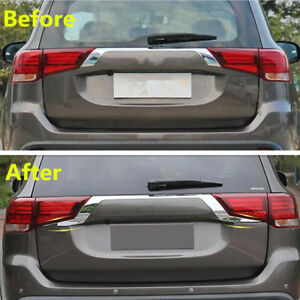 Abs Rear Door Trunk Lid Cover Trim 2pcs For Mitsubishi Outlander Phev 2017 2018