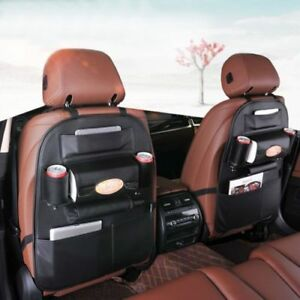 Car Seat Back Bag Organizer Storage Ipad Phone Holder Multi Pocket Leather Black