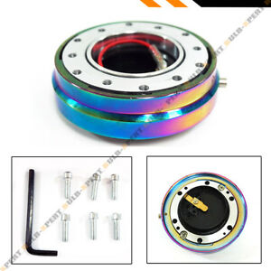 Neo Chrome Slim Thin Aftermarket Steering Wheel Hub Push Button Quick Release
