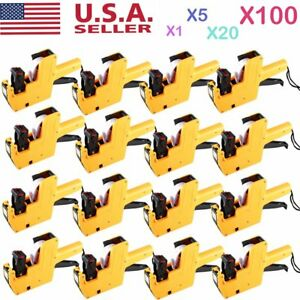 1 100x Mx 5500 Eos 8 Digits Price Tag Gun Sticker Labels ink Yellow Lot