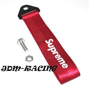 Jdm Supreme Racing Universal Front Rear Tow Strap Tow Hook Ribbon Red