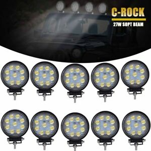 10x 4inch 27w Round Spot Led Work Light Fog Lamp Offroad Driving Suv Ute 4wd