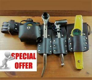 Scaffolding 5pcs Thick Brown Leather Toolset Belt With 4 Pcsgood Full Tool Set