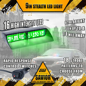 16 Led Emergency Dash Car Vehicle Windshield Warning Flash Strobe Light Green