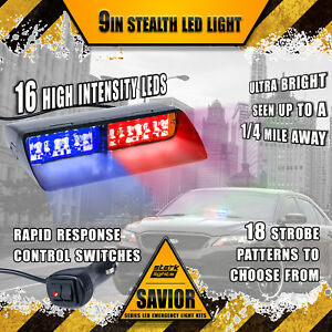 16 Led Emergency Dash Vehicle Hazard Windshield Warning Flash Strobe Red Blue