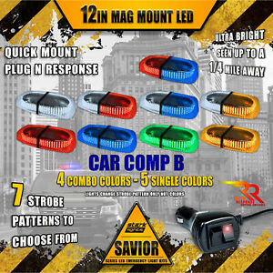 240 Led Light Bar Magnetic Roof Top Emergency Strobe 10ft Rapid Switch Truck