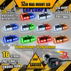 36 Led Light Bar Top Magnetic Hazard Flashing Roof Emergency Warn Strobe Truck