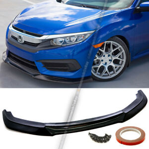 For 16 18 Civic 10th 2 4dr Unpainted Front Bumper Lip Body Kit Lower Spoiler