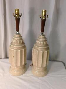 Vtg Mid Century Modern Ceramic Wood Table Lamps Pair Speckled Cream Mcm