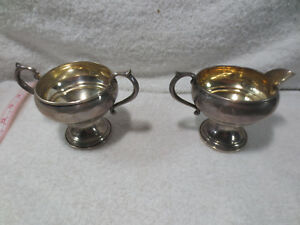 Antique Fb Rogers Silver Co Sterling Silver Creamer Sugar Bowl 1883 Weighted