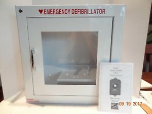 Medical Aed Philips Defib Alarmed White Metal Wall Cabinet Mmp 200900 Alarm