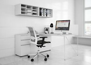 Contemporary White Office Desk And Storage 63 x63 Left Hand Seated Unit