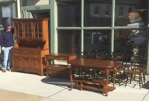 11 Piece Hitchcock Furniture Full Dining Set 8 Chairs Hutch Server Table Ex Con