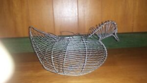 Vintage Wire Chicken Egg Basket