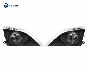 2 Clear Lens Fog Lights With Led Drl Pair Kit For 2008 2009 2010 Toyota Corolla
