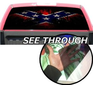 P359 American Flag Eagle Rear Window Tint Graphic Decal Wrap Back Pickup