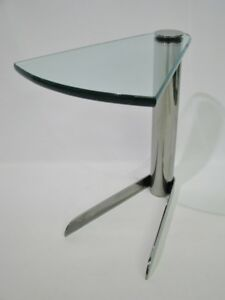 Mcm Pace Wedge Shaped Occasional Table Chrome Base Thick Glass Top