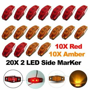 10x Red 10x Amber Led Side Marker Light 2 5 Clearance Truck Trailer Turn Light