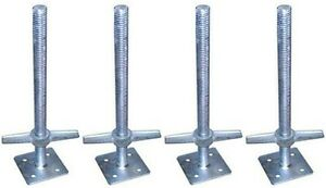 Screw Jack With Baseplates Galvanized Steel Stabalize Scaffold 4 pack