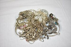 Lot Of 300 Grams Of Sterling Silver Stones Scrap Jewelry