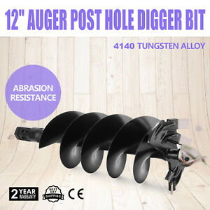 12 Auger Post Hole Digger Bit Skid Steer Attachment Strong Steel Two Blades