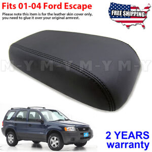 Fits 2001 2004 Ford Escape Leather Center Console Lid Armrest Cover Skin Black