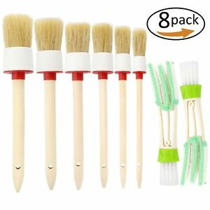 Natural Boar Hair Detail Brush Set Of 6 Auto Detailing For Cleaning 2