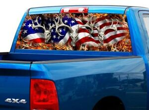 P443 American Flag Deer Rear Window Tint Graphic Decal Wrap Back Pickup