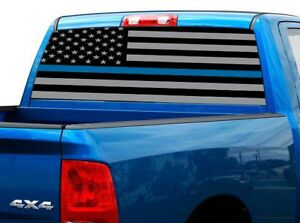 P474 Police American Flag Rear Window Tint Graphic Decal Wrap Back Pickup