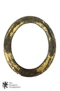 Antique Wooden Distressed French Oval Picture Frame Carved Black Gilded 21 5