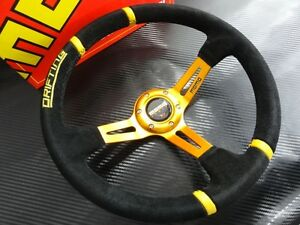 350mm Suede Leather Deep Dish Momo Drifting Steering Wheel Omp Race Gold Stand B