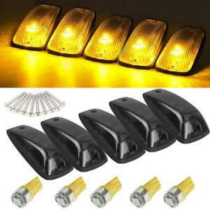 5 Cab Marker Roof Light Smoke 5050 Amber Led Base For Gmc Chevy C1500 C2500