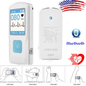 Handheld Portable Ecg Monitor Heart Rate Beat Lcd Bluetooth Electrocardiogram us
