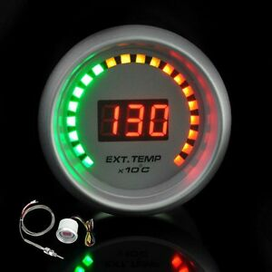 White 2 52mm Car Motor Digital 20 Led Egt Exhaust Gas Temperature Gauge Meter