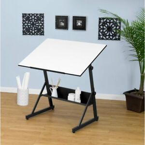Studio Designs Solano Adjustable Drafting Table Charcoal white