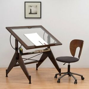Studio Designs Aries Glass Top Drafting Table Sonoma Brown clear Glass 13310