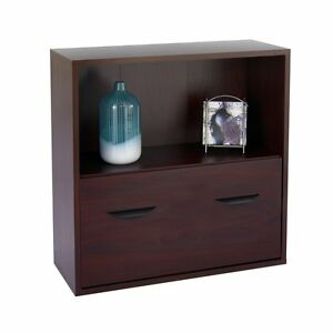 Safco Lateral Filing Cabinet With Bookshelf Mahogany