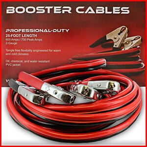 Jumper Cable 2 Gauge 25ft Vehicle Auto Battery Booster Car Jump Starter Cables