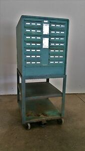 Wales Strippit Industrial Vintage Metal Cabinet Rolling Cart 30 Drawers