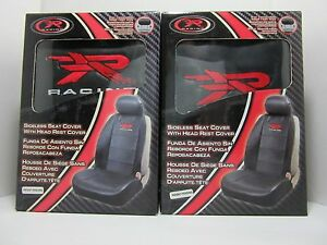 R Racing Elite Logo Black Low Back Seat Covers For Removable Headrest Set Of 2